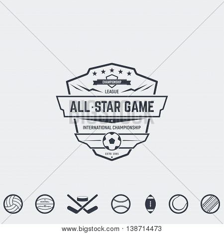 Set of retro logo and emblems badges and insignias labels and signs for sport teams competitions and all-star games. Football basketball and other sport icons ready for emblem.