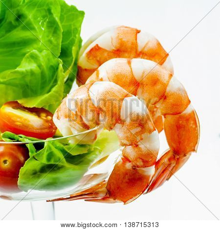 Fresh Steamed  Prawns With Vegetable Salad Isolate On White Background. Boiled , Shrimp With Mixed G