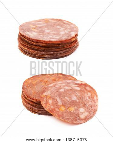 Pile of multiple Italian sausage salame napoli slices isolated over the white background, set of two different foreshortenings
