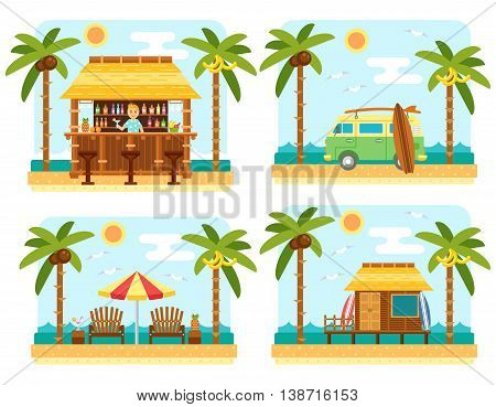 Beach scene with bar, surf van, umbrella, chair and bungalow hotel. Flat summer beach, palm tree and sea waves vector landscape. Tropical paradise on beach. Summer travel scene set.
