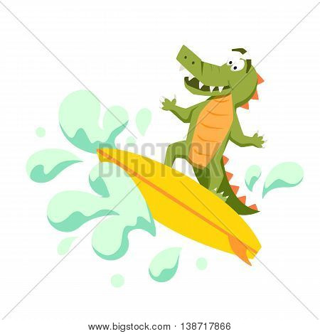 Surfer cool crocodile on wave. Sirfing monsters. Fun surf print with cute crocodile vector illustration. Comic sea character on surfboard. Water sports kid poster. Ride crocodile athlete