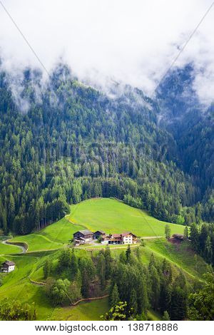 idyllic mountain scenery in the Alps (Dolomites) with fresh gree