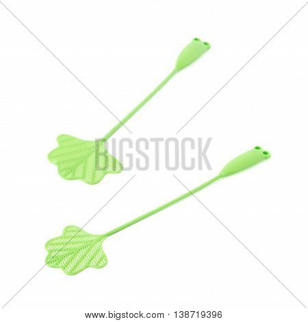 Green fly-swat swatter tool isolated over the white background, set of two different foreshortenings