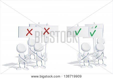 Abstract human icons voting and holding signs yeas and nays