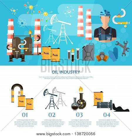 Oil industry infographics extraction and processing products transportation of oil oilman works vector illustration