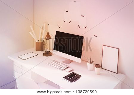 Beautiful Computer Table And Poster