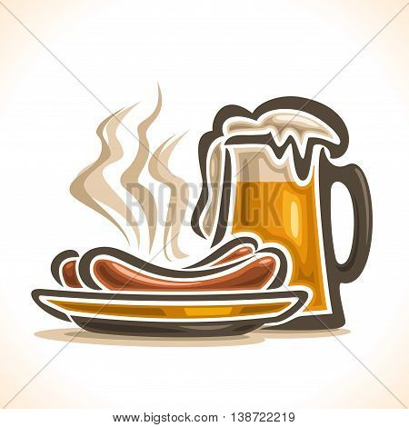Vector logo for beer, consisting of isolated glass cup, filled to the brim light lager  pilsner beer with foam on a white background and yellow dish plate with 2 hot beef sausage frankfurters