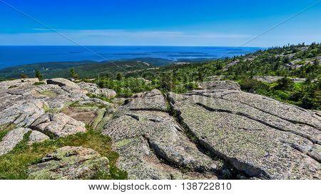 New England coastal sea view landscape with rocks