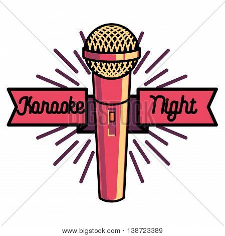 Color vintage karaoke emblems, label, badge and design elements. Karaoke club emblem. Microphones isolated on white background. Vector illustration.