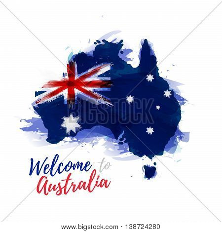 Symbol, poster, banner Australia. Map of Australia with the decoration of the national flag. Style watercolor drawing. Australia map with national flag. Vector