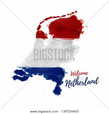 Symbol, poster, banner Netherlands. Map of Holland with the decoration of the national flag. Style watercolor drawing. Vector illustration
