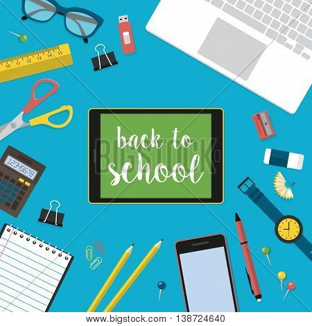 Modern back to school background with digital tablet laptop computer and flat supplies