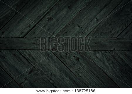 Dark green wooden background. Old vintage surface