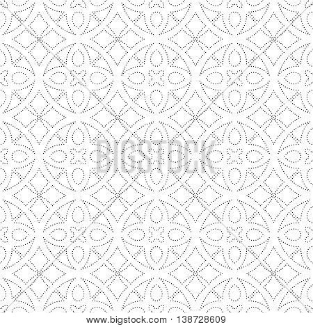 Seamless pattern. Modern stylish geometric texture with regularly repeating small dots dotted circles rhombuses Vector element of graphic design