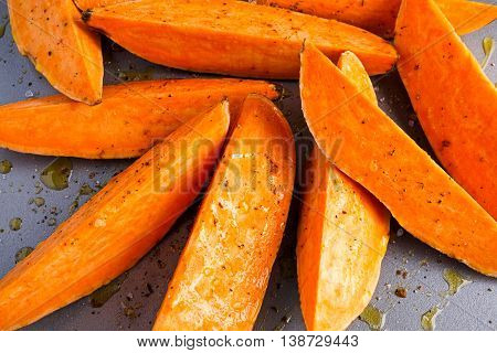 Freshly ready tp cook sweet organic potato fries.