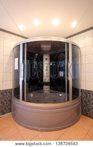 Modern Bathroom With A Mirror, A Bowl And A Convenient Per Capita Booth