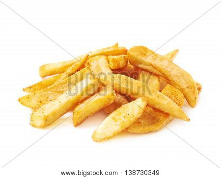 Pile of french fried potato chip slices isolated over the white background