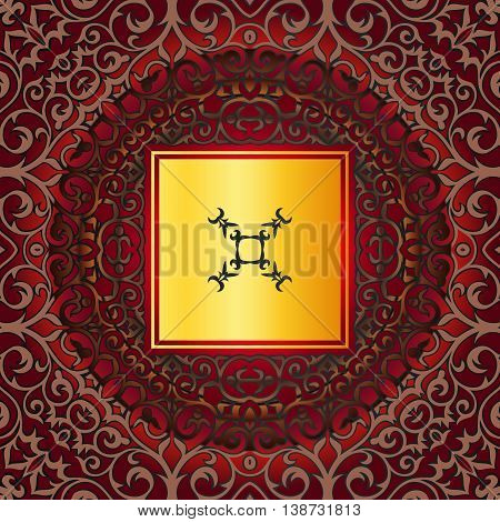 Golden ornament frame in Victorian style on a dark background. Element for design.