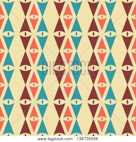 Abstract seamless pattern of sagittate and diamond-shaped elements in vintage colors. Laconic geometric retro ornament. Vector illustration for fabric, paper and other