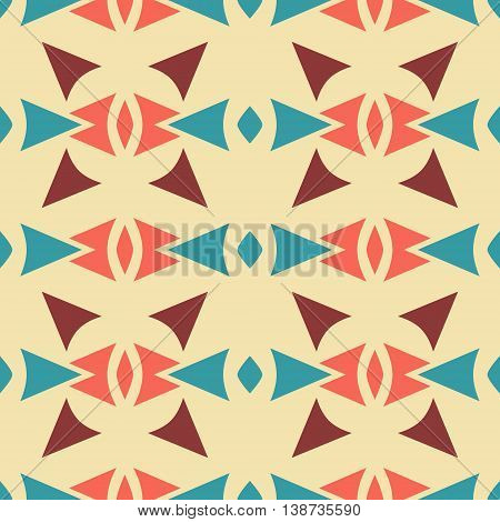 Abstract seamless retro pattern of sagittate, triangular, rhomboid elements. Geometric print with ethnic motifs in vintage colors. Vector illustration for fabric, paper and other