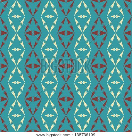 Abstract seamless pattern of sagittate elements. Geometric ornament with arrow-shaped figures in red, yellow, blue colors. Vector illustration for various creative projects