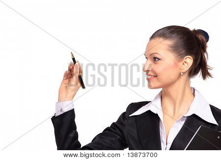 Young business woman writing on glass close up