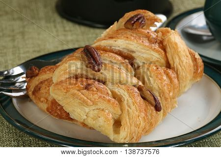 pecan and maple syrup danish pastry closeup