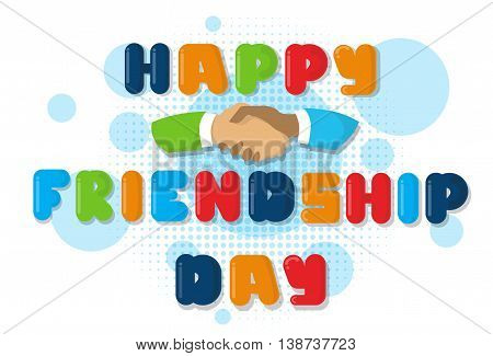 Happy Friendship Day Banner With Hand Shaking Flat Vector Illustration