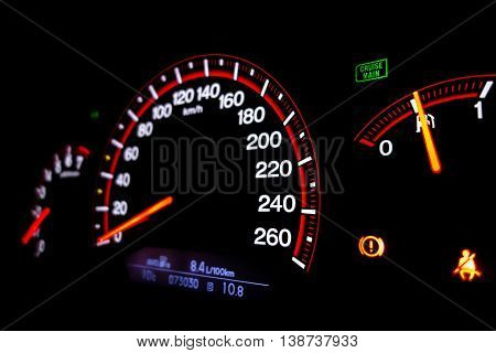 Dashboard of a modern car with speedometer