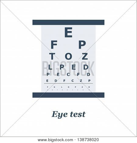 illustration of Eye test chart. Vector. Optician, ophtalmology, vision correction, eye test, eye care, eye diagnostic