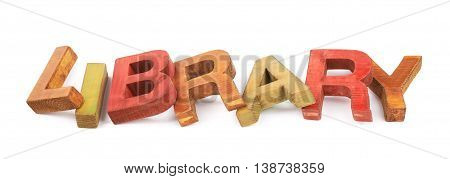Word Library made of colored with paint wooden letters, composition isolated over the white background