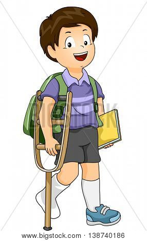 Illustration of an Injured Boy Using a Crutch to Walk