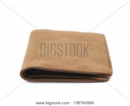 Flat foldable brown leather wallet isolated over the white background poster