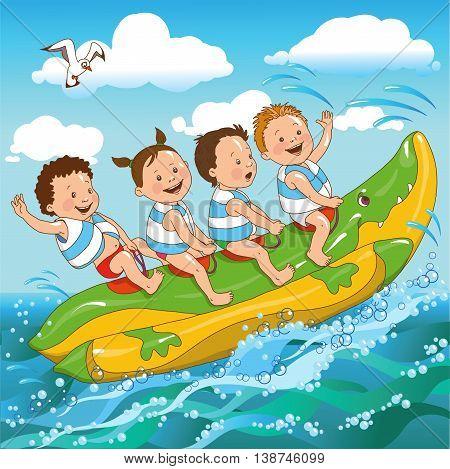 joyful kids ride on a banana boat sea