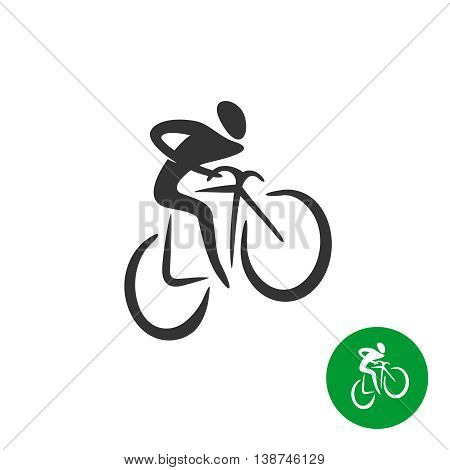 Bicyclist black silhouette logo. Man on a bicycle icon.
