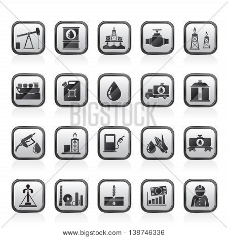 Oil industry, Gas production, transportation and storage icons - vector icon set
