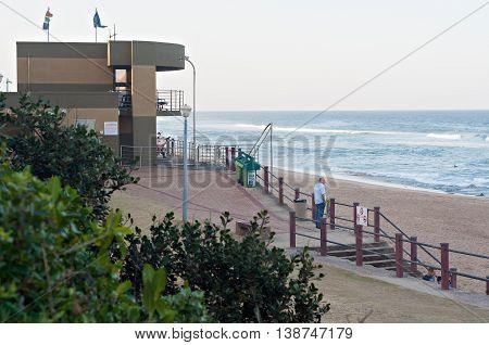 DURBAN SOUTH AFRICA - JULY 11 2016: The Bronze Beach lifesaver's station on the Umhlanga Rocks beach