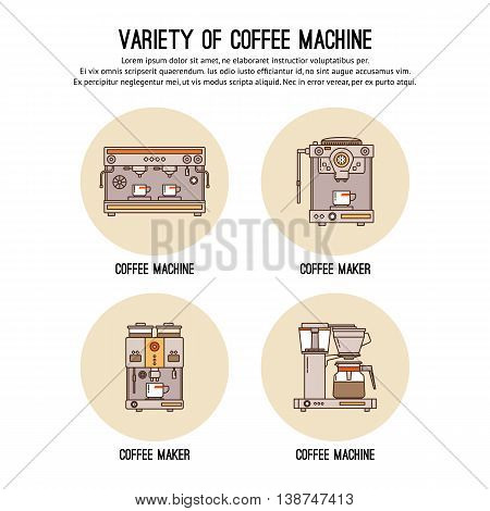 Vector design template with thin line icons of list Professional coffee machines. Equipment for coffee shop, cafe and restaurant. Flat design graphic