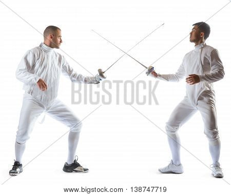 Fencing athletes or players isolated in white background.