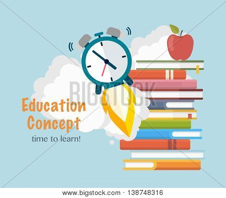 Education concept . Stack books with taking off watch.Time to learn.Back to School Background. Vector Illustration.