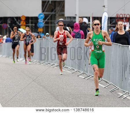 STOCKHOLM - JUL 02 2016: Triathletes Aileen Reid and Jolanda Annen running in the Women's ITU World Triathlon series event July 02 2016 in Stockholm Sweden