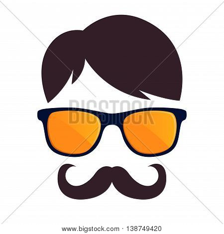 Vector stock of hipster male face with sunglasses and mustache