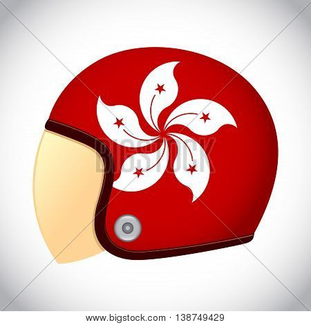 Vector stock of retro classic motorcycle helmet with Hong Kong flag
