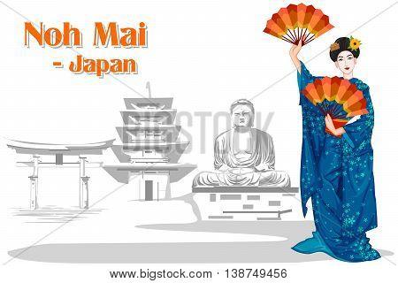 Vector design of Japanese Woman performing Noh Mai dance of Japan