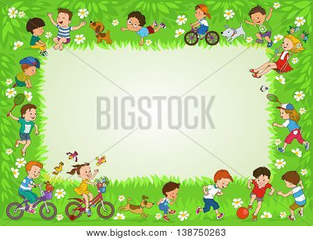 Funny cartoon. Vector illustration. Joyful kids play ball on the lawn. Illustration with place for text