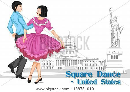 Vector design of American Couple performing Square dance of United States of America