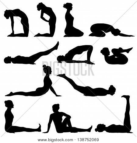 Silhouettes of woman doing different yoga poses