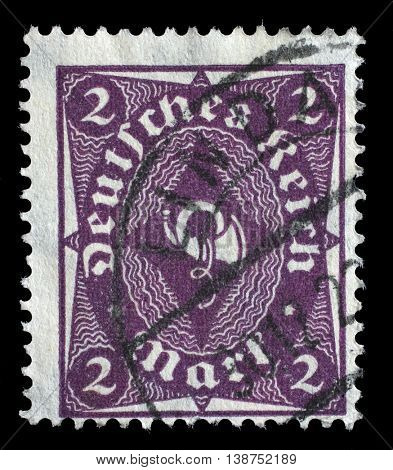 ZAGREB, CROATIA - JUNE 22: A stamp printed in Germany shows a post horn, circa 1921, on June 22, 2014, Zagreb, Croatia