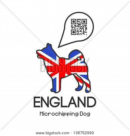All dogs in England to be tagged with a microchip implant. Vector illustration with friendly design.