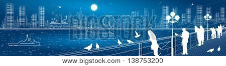 City life amazing panorama. Urban skyline. People watching from the bridge to the river and night megalopolis, ships on the water. Infrastructure and transportation illustration, vector design art